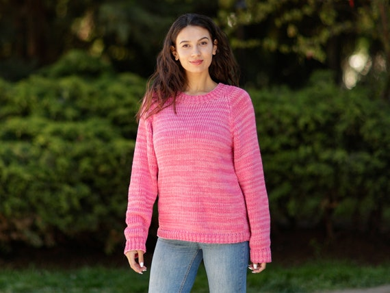 100 % Cotton hand knitted sweater, Pink Melange Jumper, Summer Sweater, Sexy Sweater  T1067