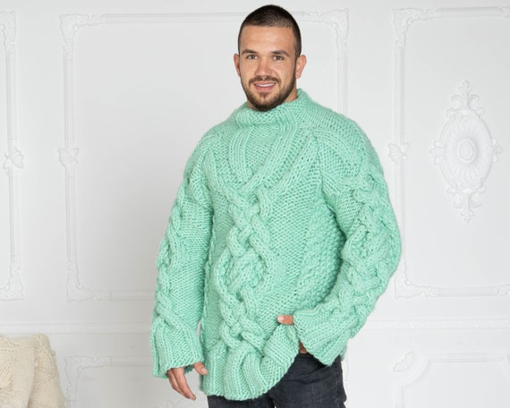 Mint Green Cable knit sweater in 3 strands, Men Hand knit sweater. TCables sweater. Woolen sweater. Handknit Turtleneck wool sweater T626M