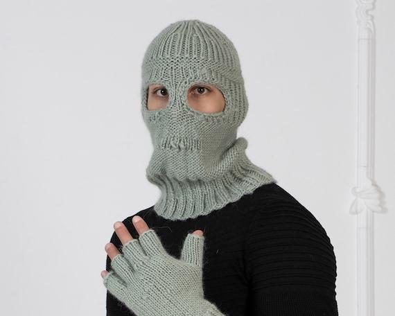 Gray Wool Balaclava, Knit Hat, Woolen  Beanie, Slouchy Hat, Winter Ski Mask Hat, Fetish Balaclava, Oversized Hat  T1006