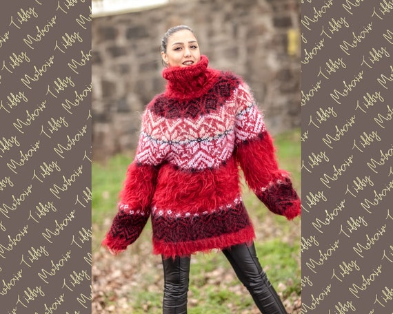 Icelandic Christmas Sweater, Red Mohair Hand Knitted Pullover T414