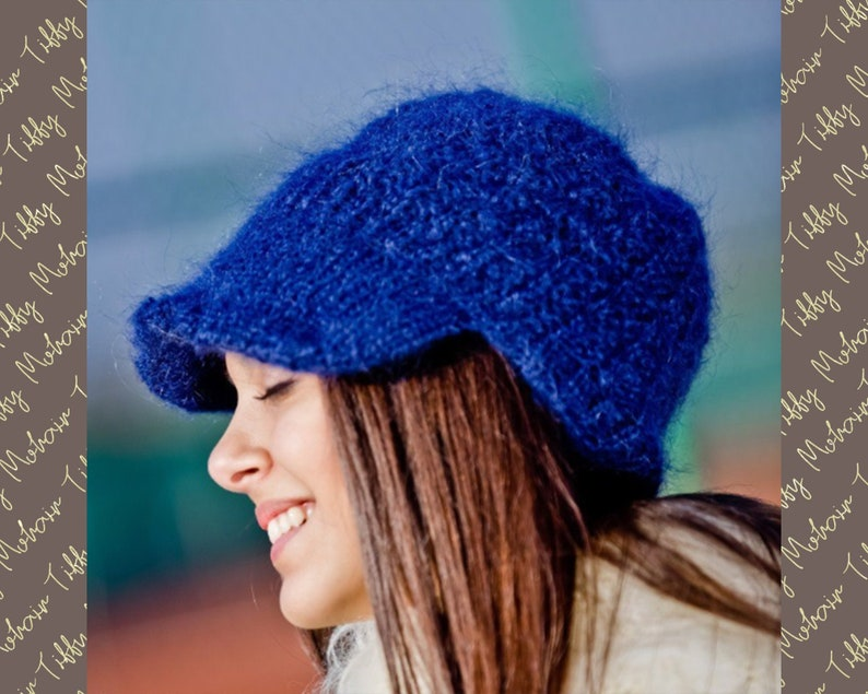 1b357569f33 Blue Mohair Hat Hand Knit Cap Fluffy Mohair Beanie Winter