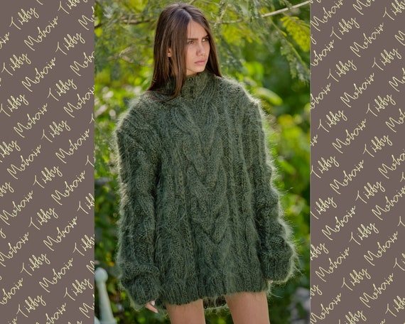 Olive GREEN Mohair Sweater, Chunky Turtleneck, Cable Knit Ribbed Pullover, Unisex top, Hand Knit men sweater, knit women sweater T107
