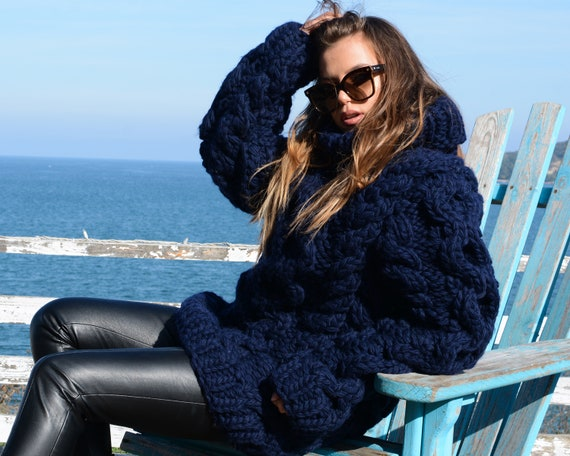 Knit Chunky Sweater, Navy Blue clothing soft texture , oversize neutral knit pullover T658W