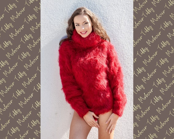 Red Mohair Bodysuit, Hand Knit Mohair Sweater, Fetish Fluffy Bodysuit, Men Mohair Romper, Turtleneck Sweater, Fluffy Fetish Underwear T393