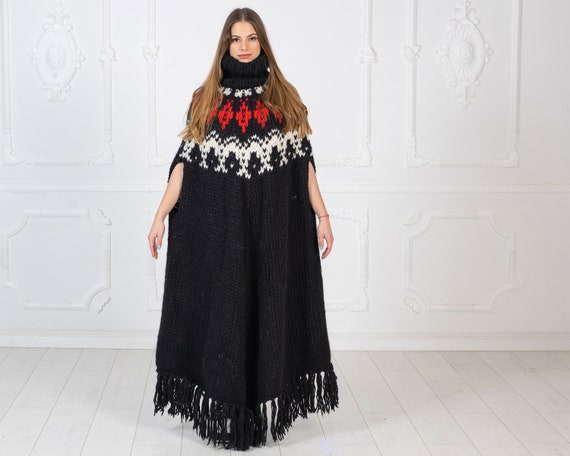 Ready to ship in size 9XL, Icelandic Pattern  woolen poncho , Black  wool poncho , Oversized Wooly Poncho in Sacndinavian Pattern , T975W