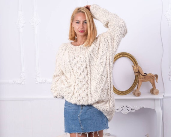 100 % Alpaca Cable knit sweater , Super soft and chunky sweater , Crewneck sweater , Hand crafted sweater