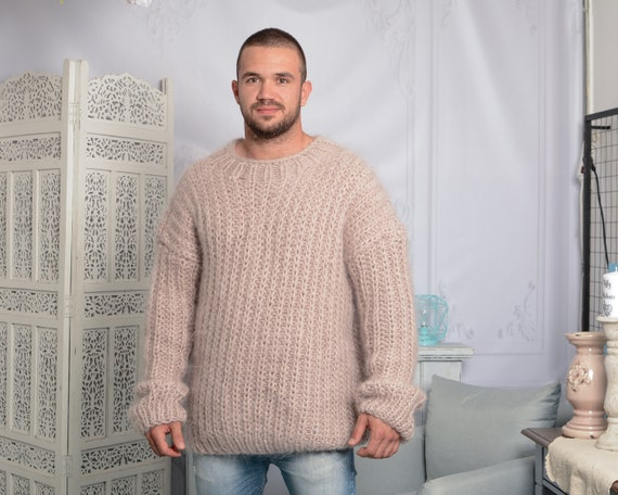 Beige Mohair Sweater, Soft Crewneck Sweater, Men Mohair Sweater, Ribbed Mohair Pull, Thick Oversized Sweater, Hand Knitted sweater T795M