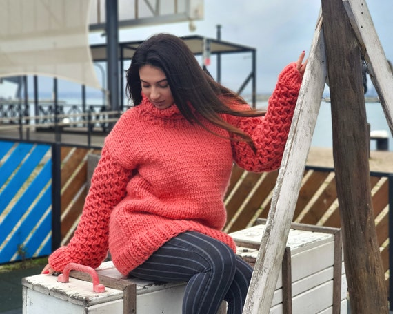 Ready to ship in size 4XL, Salmon Pink wool Sweater, Honeycomb hand knitted woolen jumper T937