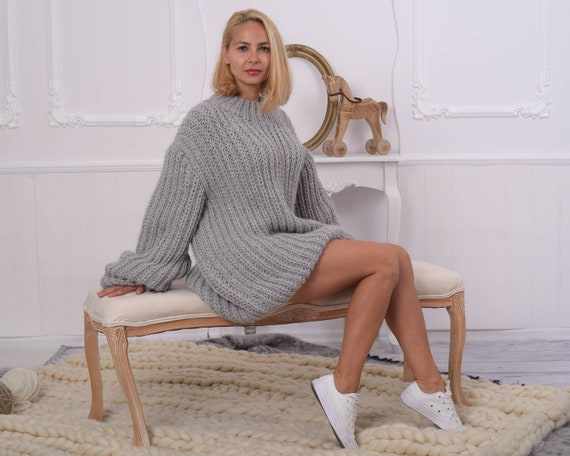 100 % Alpaca English rib sweater , Extremely soft and chunky sweater , Crewneck sweater , Handknit sweater