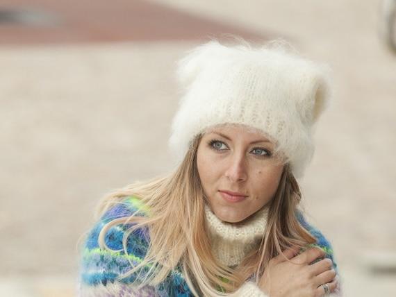 Cream Mohair Hat, Knit Hat, Fluffy Mohair Beanie, Slouchy Hat, Mohair Balaclava, Fluffy Winter Hat, Fetish Balaclava, Oversized Hat T490