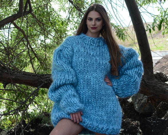 Ready to ship in size 7 xl, 8 strands Mohair and wool mix sweater, Extra thick melange jumper. Oversized Wool Sweater, Knitted Jumper T788