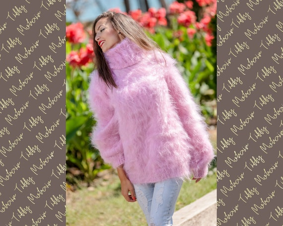 Pink Mohair Sweater, Turtleneck Sweater, Hand Knitted Sweater, T neck Jumper, Oversized Sweater, Mohair Fetish, Chunky Fluffy Sweater T361