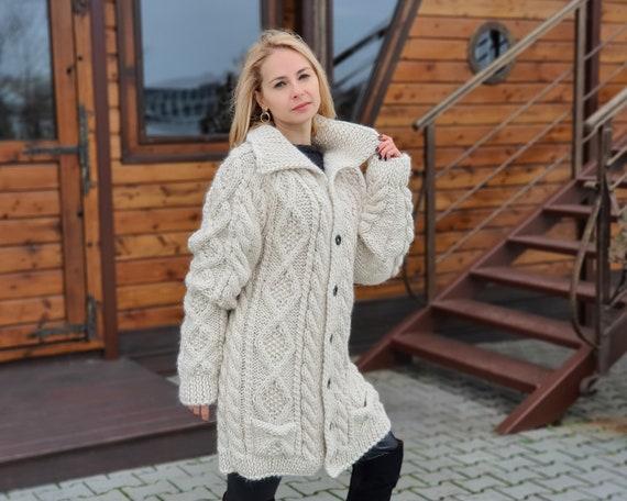 100 % Alpaca Cream Cardigan ,  Soft yarn Jacket,  Extremely soft and chunky coat , Handknit cardigan T959