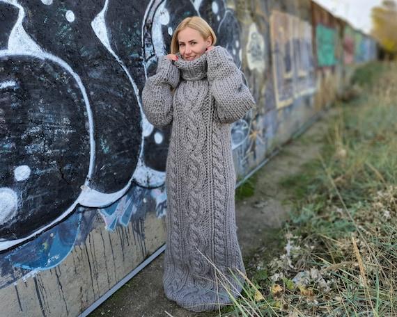5 strands Gray wool Dress, Knit Sweater Dress, Turtleneck Maxi Dress, Chunky Woolen Dress, Long Fetish Dress, Winter Dress  T911