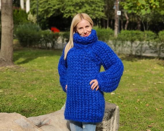 Heavy mohair sweater in 25 strands, oversized women's jumper, Blue sweater from longhairedmohair, Huge sweater