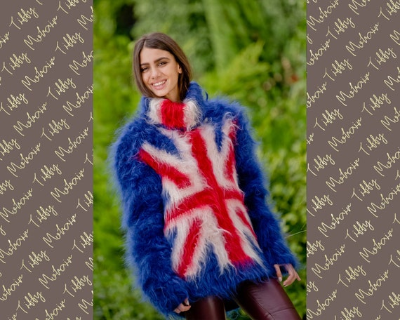 British Flag Sweater, Blue Mohair Sweater, Mohair Pullover ,Hand Knit Sweater, T neck Sweater, Turtleneck Sweater, Soft WInter Sweater T112
