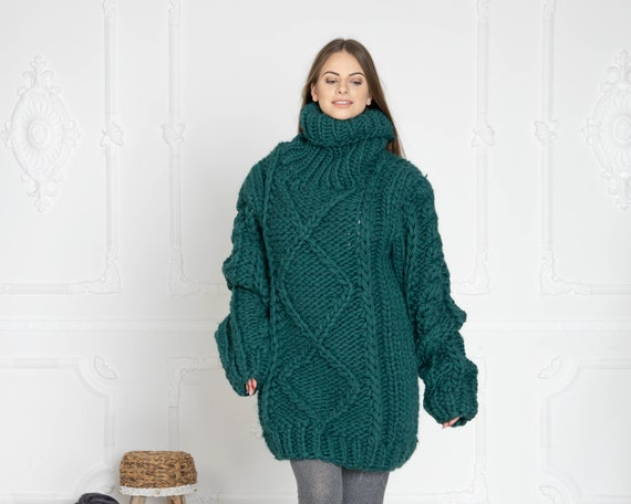 5 Strands Thick Green Wool Sweater,Massive Knit Woolen Pullover, Cables Sweater T629W