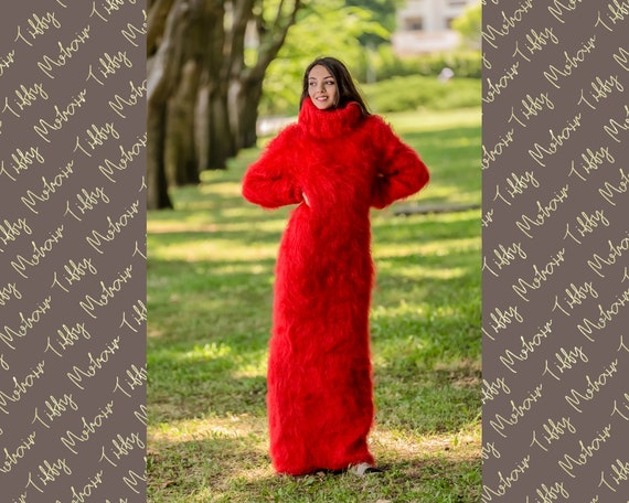 Hand Knitted Mohair Sweater Dress, Turtleneck sweater, Ribbed Pullover Fluffy Mittens, blanket dress, custom order sweater T333