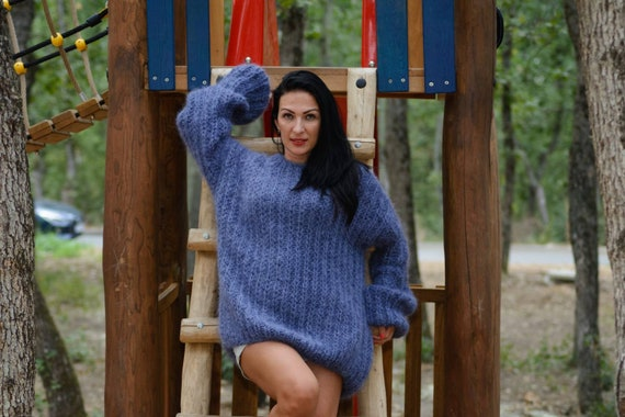 Denim blue Mohair Sweater, Ribbed Hand knitted jumper, Fisherman Sweater, Fluffy Gray Sweater