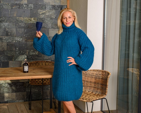 Ready to ship mohair dress in size 6XL, English Rib Mohair Dress, Chunky sexy Blue Sweater Dress, Slouchy Fluffy Jumper T833