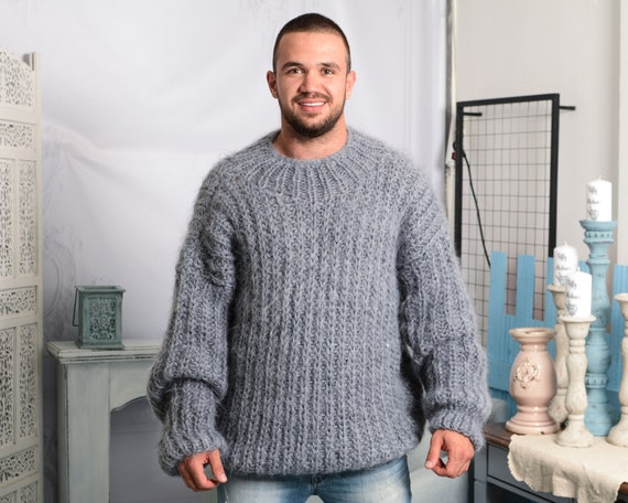 Grey Mohair Sweater, Ribbed Hand knitted jumper, Fisherman Sweater, Fluffy Gray Sweater T794M