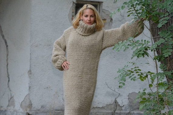 Eco wool Dress, Knit Sweater Dress, Beige Turtleneck Maxi Dress, Chunky Woolen Dress, Long Fetish Dress, Winter Dress , Knitted Dress
