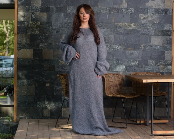 Ready to ship in size bigger than 9XL ,Maxi Gray Mohair dress, Hand knitted long dress, Big needles hairy dress T848