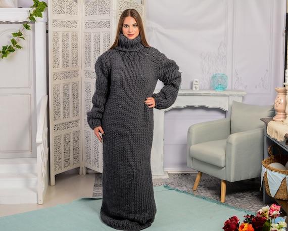 Gray wool Dress, Knit Sweater Dress, Turtleneck Maxi Dress, Chunky Woolen Dress, Long Fetish Dress, Winter Dress , Knitted Dress T784