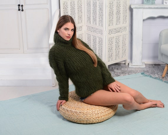 GREEN Mohair Sweater, Chunky Turtleneck, Cable Knit Ribbed Pullover, Unisex top, Hand Knit men sweater, knit women sweater T793