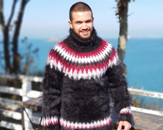 Icelandic Mohair Sweater, Men Lopi Pullover , Fluffy mohair sweater T677