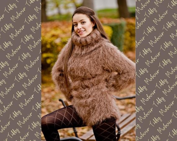 Brown Mohair Bodysuit, Hand Knit Mohair Sweater, Fetish Bodysuit, Men Mohair Romper, Winter Turtleneck Sweater, Fluffy Fetish Underwear T208