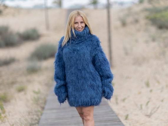 Mohair and wool mix Sweater, Thick knit Sweater in blue, Turtleneck Jumper T1078