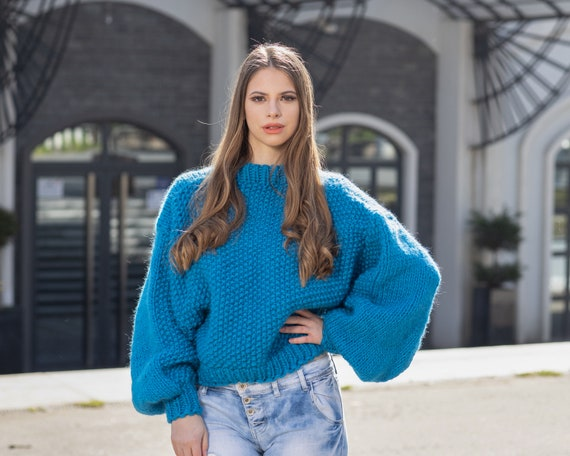 Short Sweater with Oversized Sleeves, Blue 100 % Wool Jumper , Extra Wide Sleeves Sweater T1026