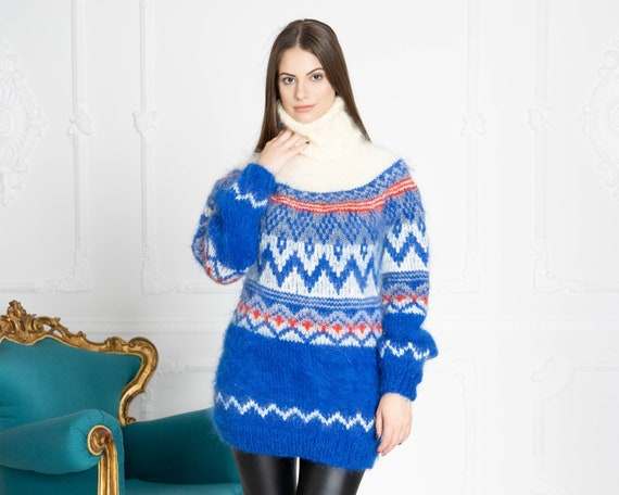 Blue Norwegian Mohair Sweater, Hand Knit Sweater, Women Mohair Sweater, Fair Isle Sweater, Fluffy Huge Sweater, Nordic Sweater T651