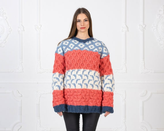 Ready to ship in size 4XL, Colourful Wool Sweater, Harry Style Wooly Jumper, 100 % Wool hand knitted sweater T969