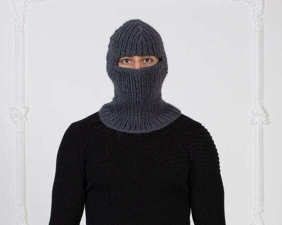 Gray Wool Balaclava, Knit Hat, Woolen  Beanie, Slouchy Hat, Winter Ski Mask Hat, Fetish Balaclava, Oversized Hat  T1012