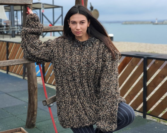 Extra Chunky Ribbed jumper hand made of alpaca and lambswool melange mix, Thick Hand Knitted Jumper T932