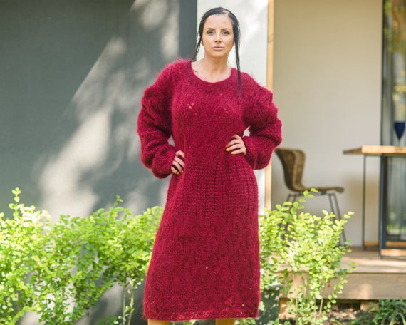 Lace Mohair Dress, Knitted lace red robe, Hand knitted bordeau sweater dress T845