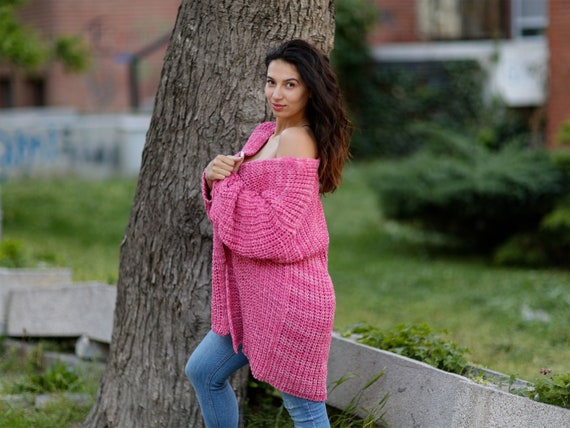 Ready to Ship in size XL, 100 % Cotton hand knitted cardigan , Pink Melange English Rib Cardigan, Summer Cardigan, Sexy Knitted Coat T1068