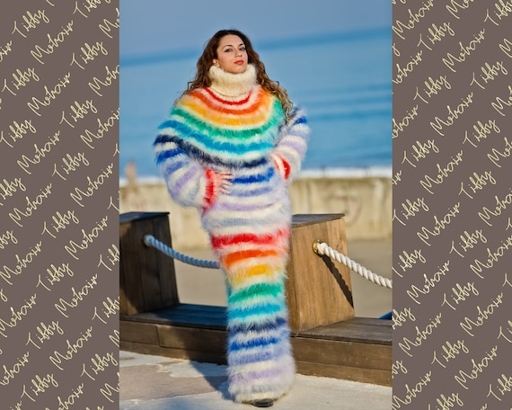 Rainbow Mohair Dress, Turtleneck Maxi Dress, Hand Knit Sweater Dress, T neck Mohair Dress, Chunky Dress, Hot Fetish Dress, Winter Dress T184