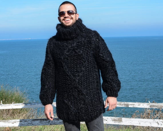 Thick Mohair sweater in 12 strands , Chunky Knit Cables jumper T676M