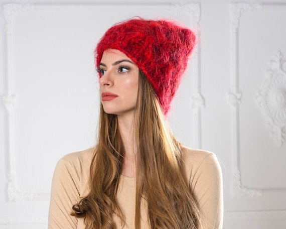 4 Strands Red Melange Mohair Hat, Cable knit Hat, Fluffy Mohair Beanie, Slouchy Hat, Fluffy Hat  T1003