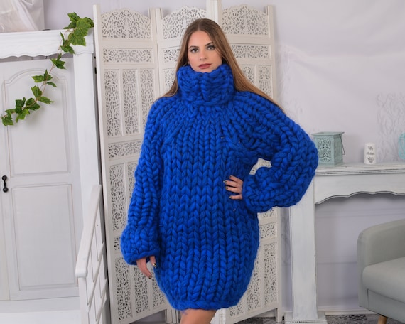 Chunky Mohair , Merino roving and soft wool mix sweater , Hand knitted Jumper, Arm knit pullover T791AW