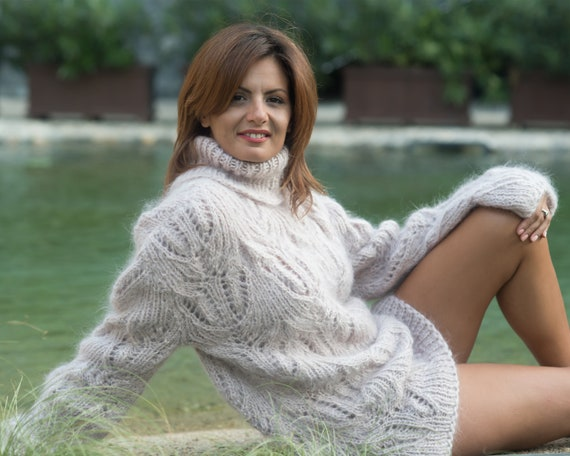 Fluffy Beige Lace Mohair Sweater,  Sexy Sweater , T842