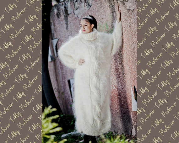 Ivory Mohair dress, Hand Knit Dress, Fetish Mohair Dress, Sweater Dress, Turtleneck Dress, Maxi Dress, Knitted Cables Dress, Winter Robe T42