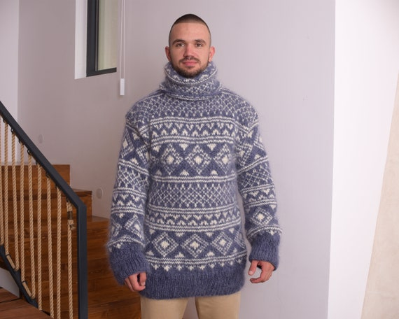 Blue Mohair Sweater, Icelandic Sweater, Hand Knit Sweater, Men Mohair Sweater, Norwegian Sweater, Fluffy Huge Sweater, Nordic Sweater  T835M