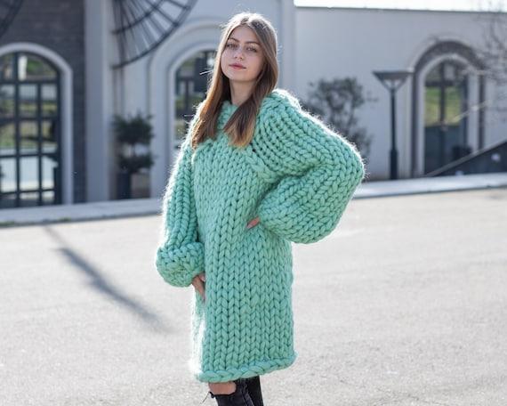 Merino Wool Sweater , Huge Super Chunky Knit Woolen Pullover, Marshmallow sweater, Giant knit sweater, Huge Sweater T1038