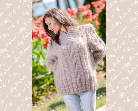 Beige Mohair Sweater, V neck Sweater, Cable Knit Sweater, Chunky Knit Sweater, Oversized Sweater, Fetish Sweater, Men Mohair Sweater T366