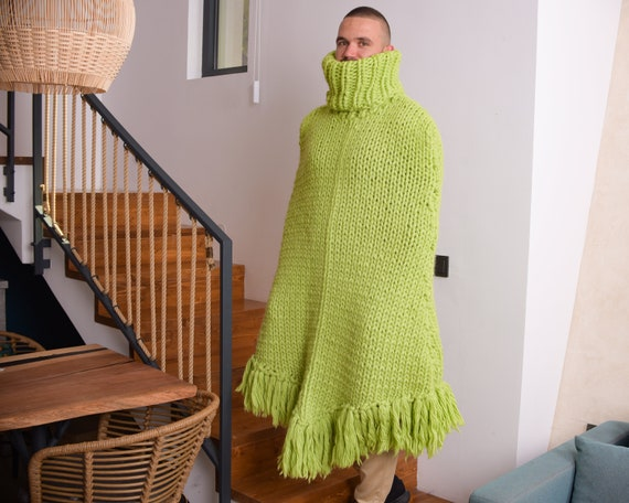 Extremely Comfortable Women's Wool Poncho in Green Color , Chunky knit body cover T812M