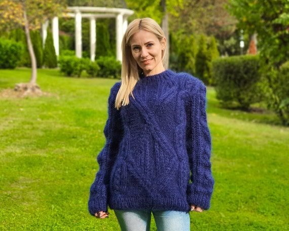 Cable knit navy blue mohair sweater, Men mohair sweater